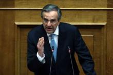 Antonis Samaras devant le Parlement grec, àAthènes, le 21 février 2018.