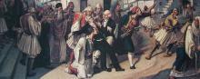 L'assassinat de Capo d'Istriasur le parvis de l'église Saint Spyridon à Nauplie, vu parCharalambos Pachis (1844-1891). (Détail.) © Musée de Corfou/fr.wikipedia.org