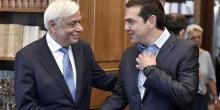 Alexis Tsipras était reçu par le président de la République Prokopis Pavlopoulos pour lui rendre compte des résultats de la réunion.@ AFP