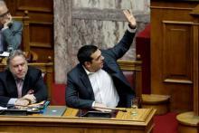 Le premier ministre grec, Alexis Tsipras, lors du vote sur le nouveau nom de la Macédoine, vendredi 25 janvier.
