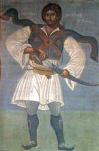 Athanassios Diakos, peint par Fotis Kontoglou (1938). Fresque murale à l'Hôtel de Ville d'Athènes