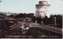 Carte-postale montrant la Tour blanche (Lefkos pyrgos) de Thessalonique dans les années 1950.