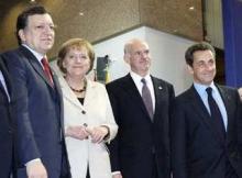 José Barosso, Angela Merkel, Georges Papandreou et Nicolas Sarkozy