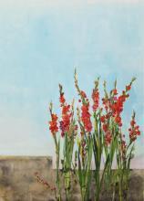 Anna-Maria Tsakali - Fleurs Rouges 2016, Huile sur toile et Tempera, 200 x 152 cm