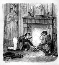 Singe regardant le chat tirer les marrons du feu, de Jean de la Fontaine. Gravure de Bouchot